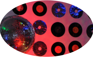 glam disco theme, house party, mirror ball