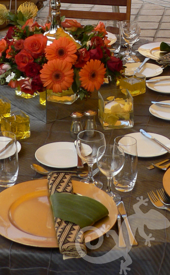 MTN end of year, corporate, table setting, gold under plates