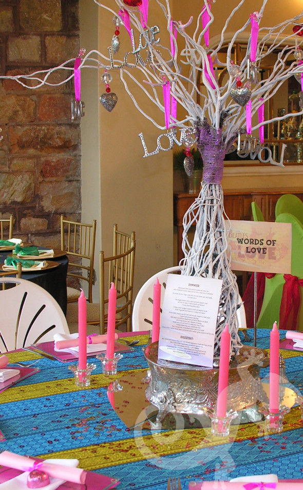 21st Birthday Party Beatles song titles Words of Love  table decor