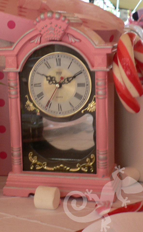 Alice in Wonderland, pink clock