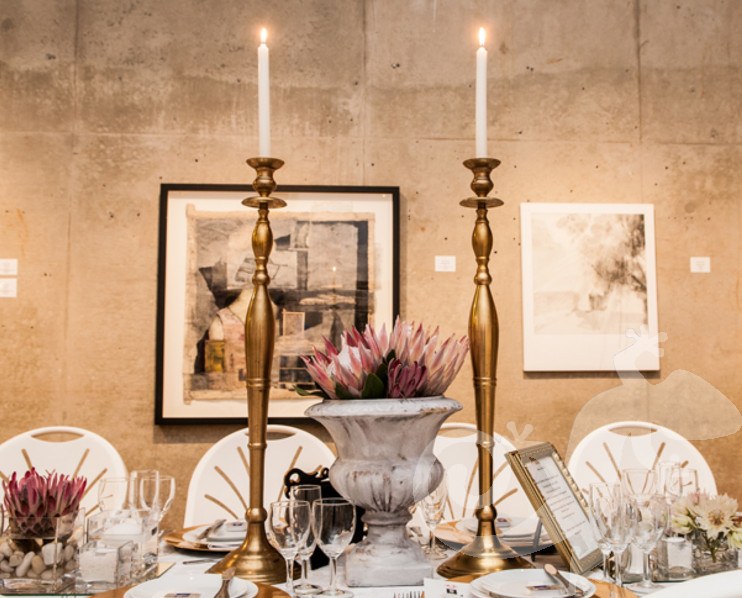 Long Table Dinner, George Bizos Fund, table decorations, candelabra, candlestick
