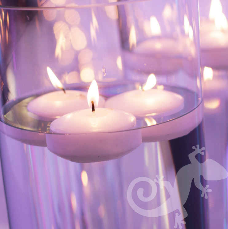 Corporate events, Cocktail Party, floating candles, glassware