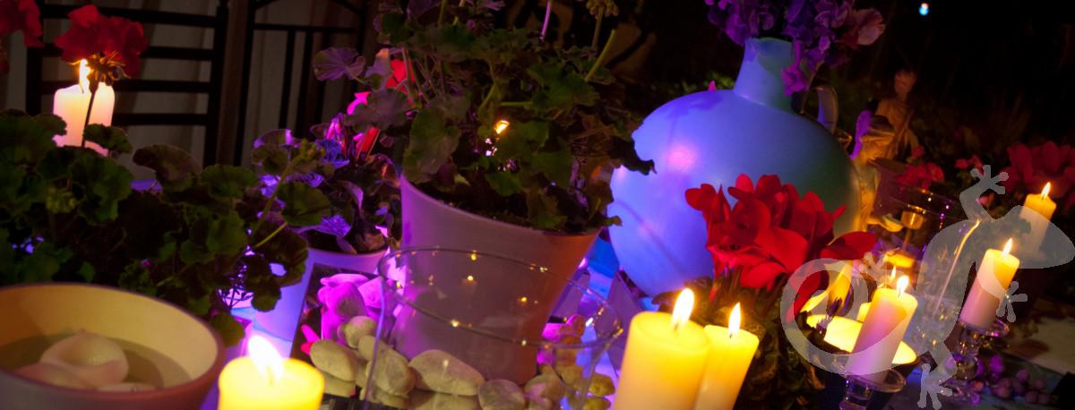 candle-lit Greek island setting, lighting, Greek party