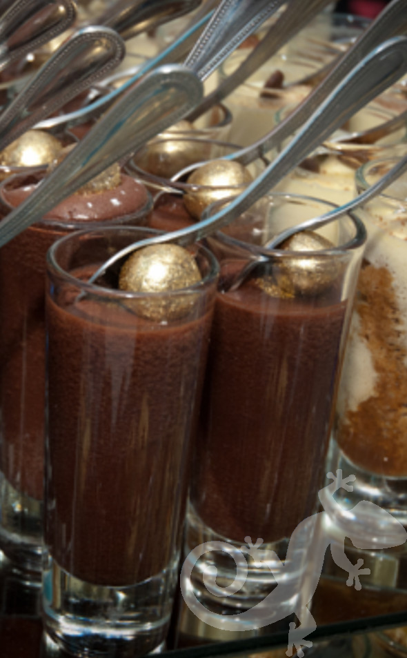 chocolate mousse, gold leaf chocolate