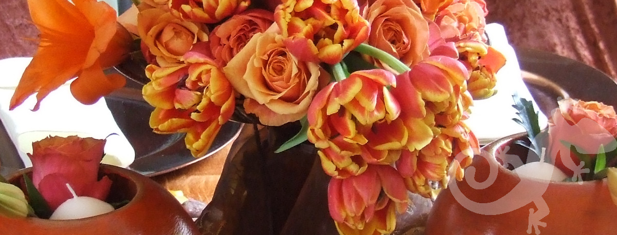 Tulips, candleight, orange floral design