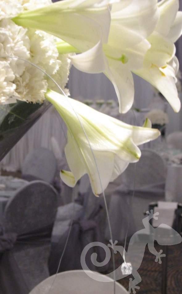 Enchanting floral arrangements, crystals, St,Joseph lily