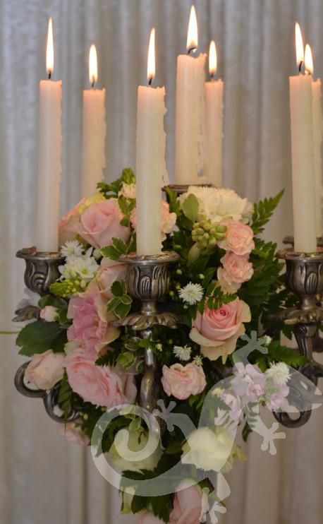 Classic elegant centrepiece, candle, designer