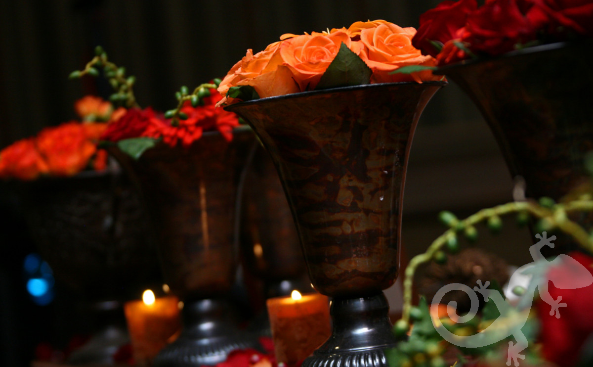 Floral arrangements, warmth, chocolate candles