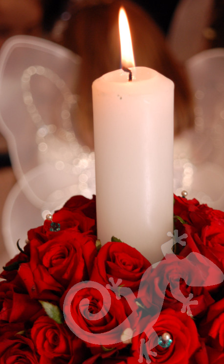 Elegant roses, candle, diamante detail