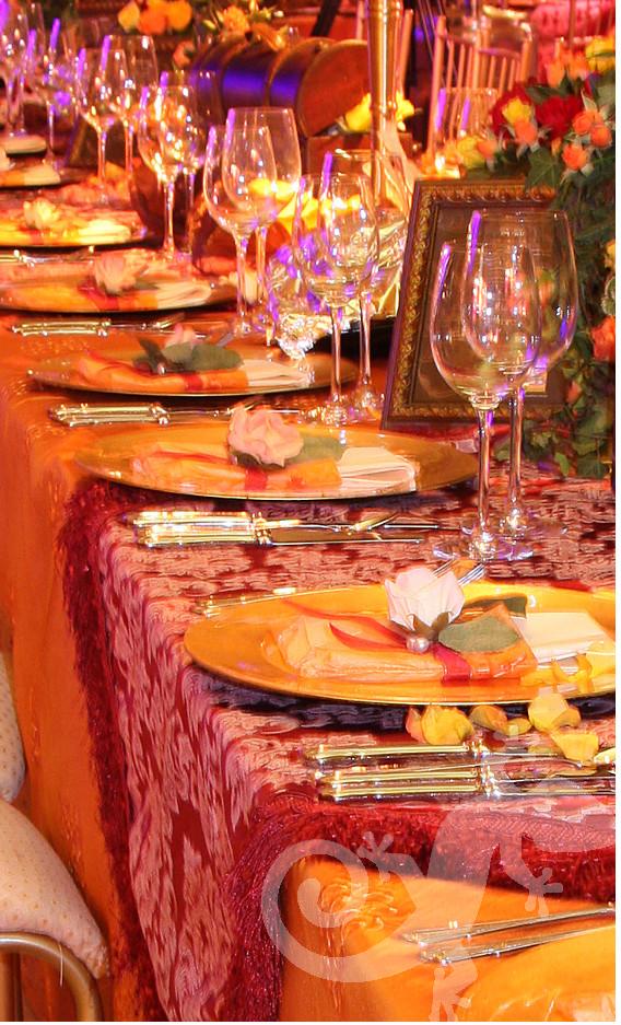 Latin Rhythm, Gala event, brocade, long table setting
