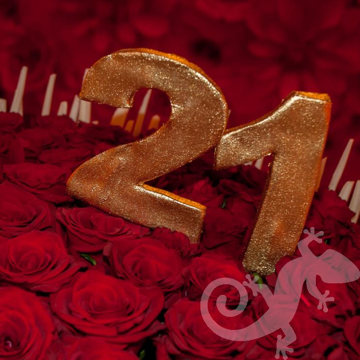 Red Hot, Twenty First birthday, 21, rose petal cake