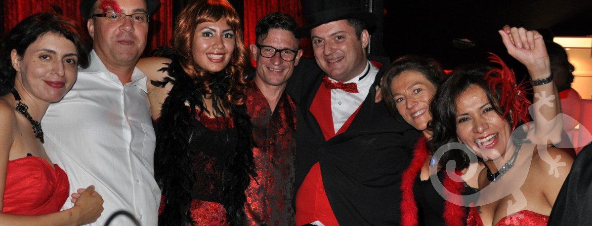 Guests at the Moulin rouge,  Salamander theme parties