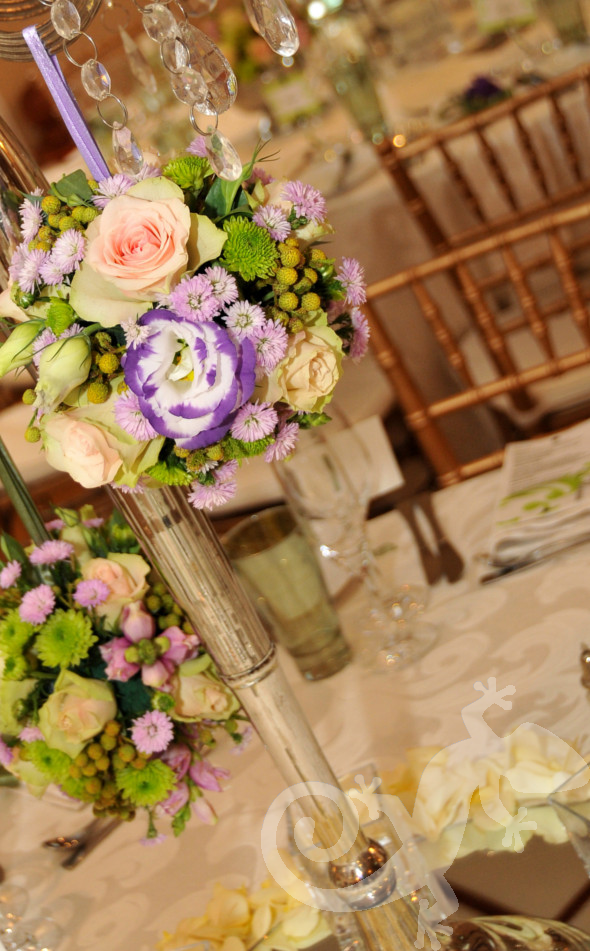 Spring themed flower balls, table design