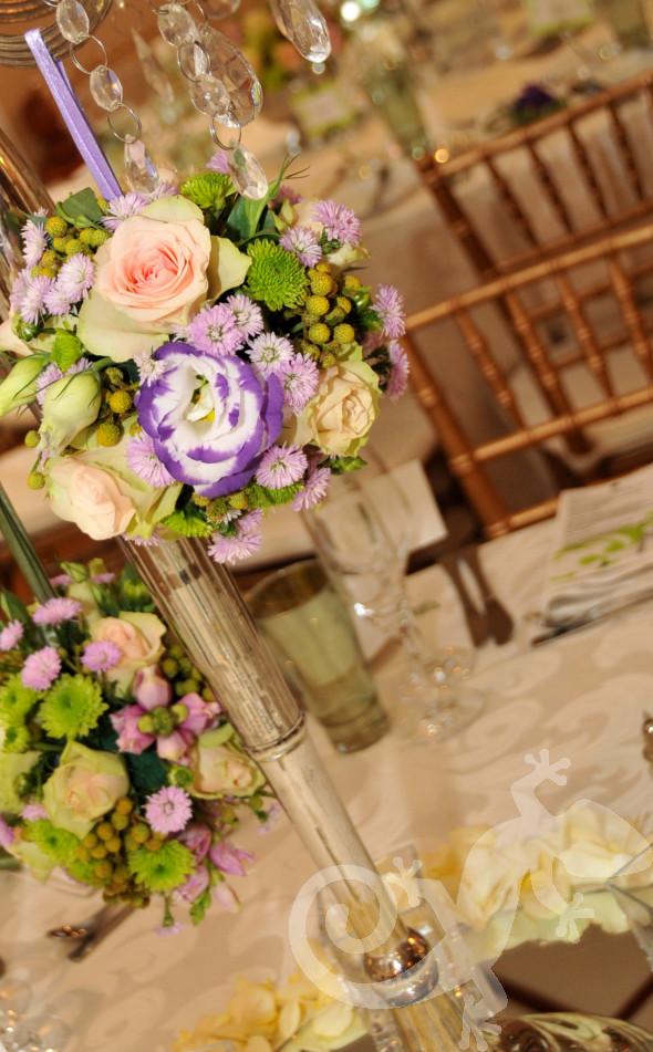 Spring themed flower balls, table design