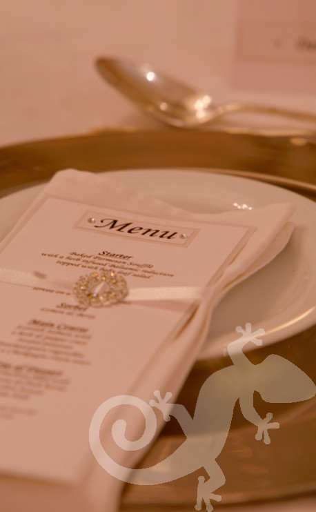 Elegant tablesetting, menu, napkin detail